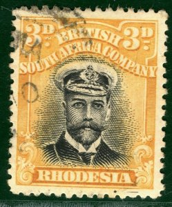 RHODESIA BSACo KGV Admiral SG.210 3d Black & Yellow (1913) Used Cat £25 EBLUE23
