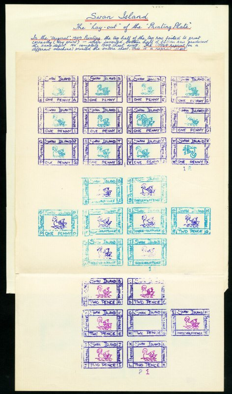 Swan Islands Rare Sheet Of 27 1949 Issue Stamps