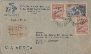 ARGENTINA POSTAL HISTORY REGISTERED AIRMAIL COVER ADDR USA CANC YR'1947