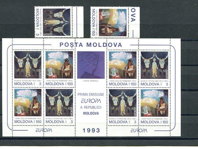 Moldova Europa 1993  sheet and set Mint VF NH