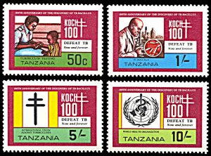 Tanzania MNH 213-6 TB Centenary Dr. Koch SCV 3.15