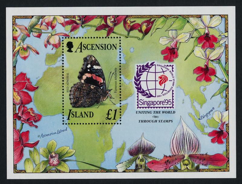 Ascension Island 618-22 MNH Butterflies, Flowers, Map