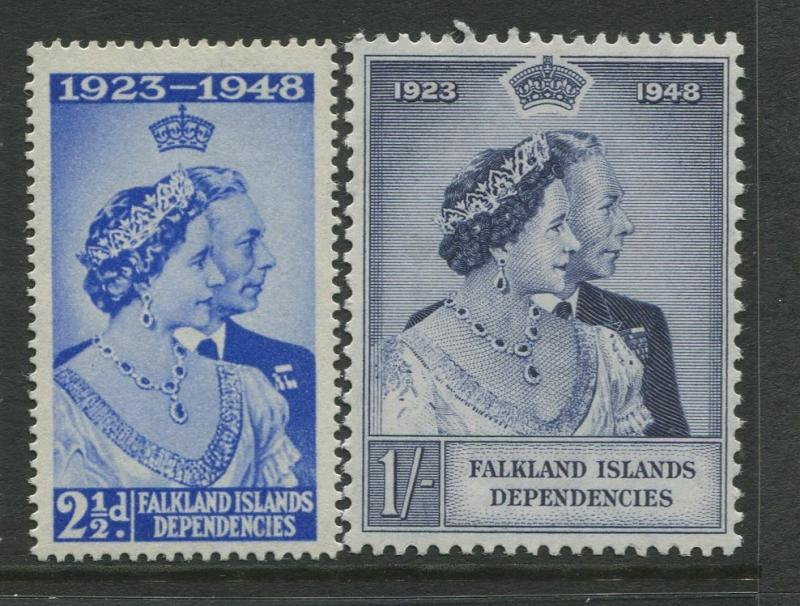 Falkland Is Dep.- Scott 1L11-1L12 -Silver Wedding Issue-1948-MNH-Set of 2 Stamps