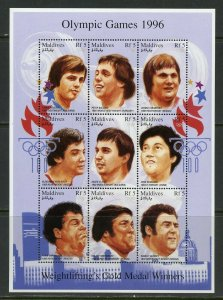 Maldives MNH S/S Atlanta Olympic Games Gold Medalists 1996 9 Stamps