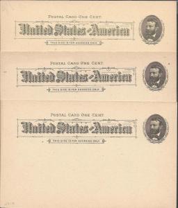 Scott UX10, (UPSS S10), Three U Cards, Postal Cards