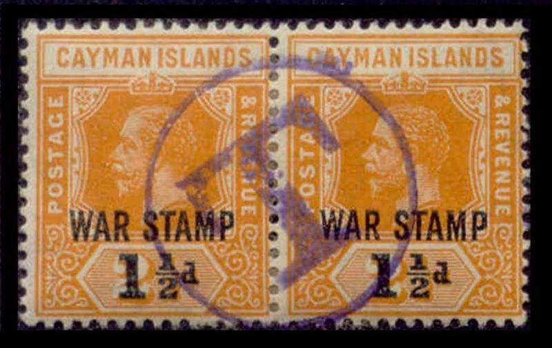 Cayman Islands 1919 War Tax w/ 'T' Postage Due Strike in Violet
