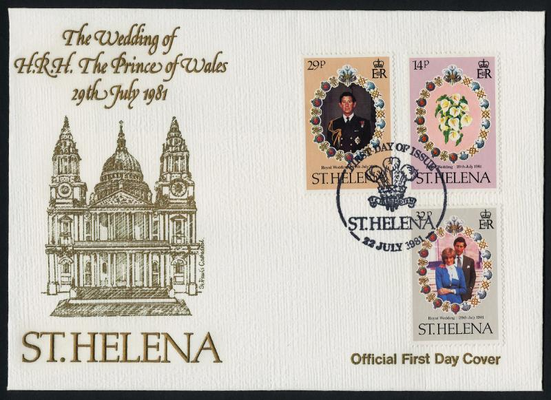 St Helena 353-5 on FDC - Charles & Diana Wedding, Flowers