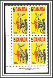 Canada #483 Lacrosse Plate Block Pl 1 MNH