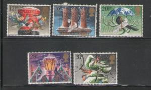 Great Britain Sc 1035-9 1983 Christmas stamps used