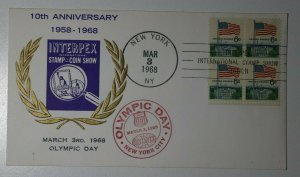 INTERPEX 10th Anniv Olympic Day NYC NY 1968 Philatelic Expo Cachet Cover