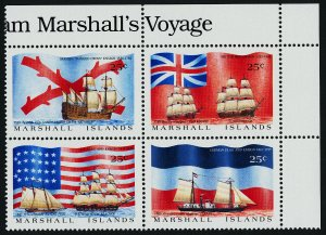 Marshall Islands 194a TR Block MNH Ships of Exploration, Flags
