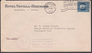 CUBA 1927 first flight cover Havana to Key West Florida.....................P160