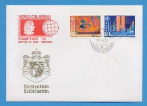 LIECHTENSTEIN - scott 979-980  FDC - EUROPA - World Columbian Stamp Expo 92