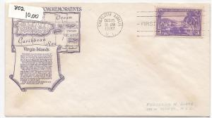 802 ADRESSED ANDERSON COLOR CACHET FDC VIRGIN ISLANDS