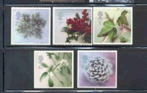 Great Britain Sc 2081-5  2002 Christmas  stamp set mint NH