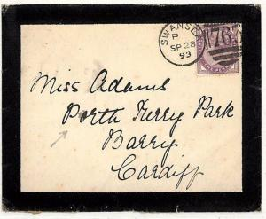RR68 GB WALES Mourning Cover 1893 Swansea *PORTH KERRY PARK* {samwells-covers}