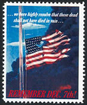 Patriotic WW2 Poster Stamp - Remember Dec. 7th - Cinderella