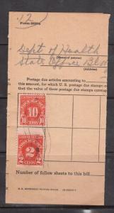 USA Providence Rhode Island 1954 Postage Due Bill