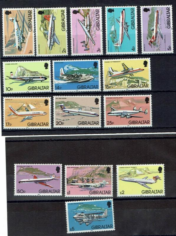 GIBRALTAR 1982 QEII AIRPLANE SET MNH **