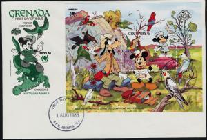 Grenada 1647 on FDC - Disney, Birds, Parrots