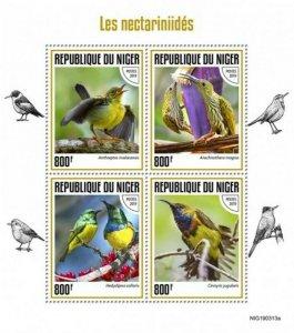 Niger - 2019 Sunbirds on Stamps - 4 Stamp Sheet - NIG190313a