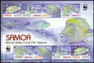 Samoa WWF Humphead Wrasse Sheetlet of 2 sets SG#MS1182 MI#1034-1037 SC#1092a-d