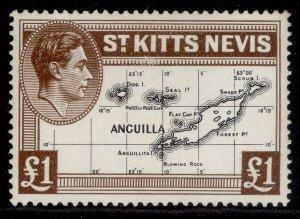 ST KITTS-NEVIS GVI SG77f, £1 black & brown, M MINT. Cat £19.