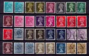 SG Great Britain Machin Lot Queen Elizabeth II Used With Duplicates (32 ea )F-VF
