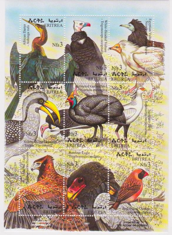 Eritrea - Birds, 1998 - Sc 304 Sheetlet of 9 MNH