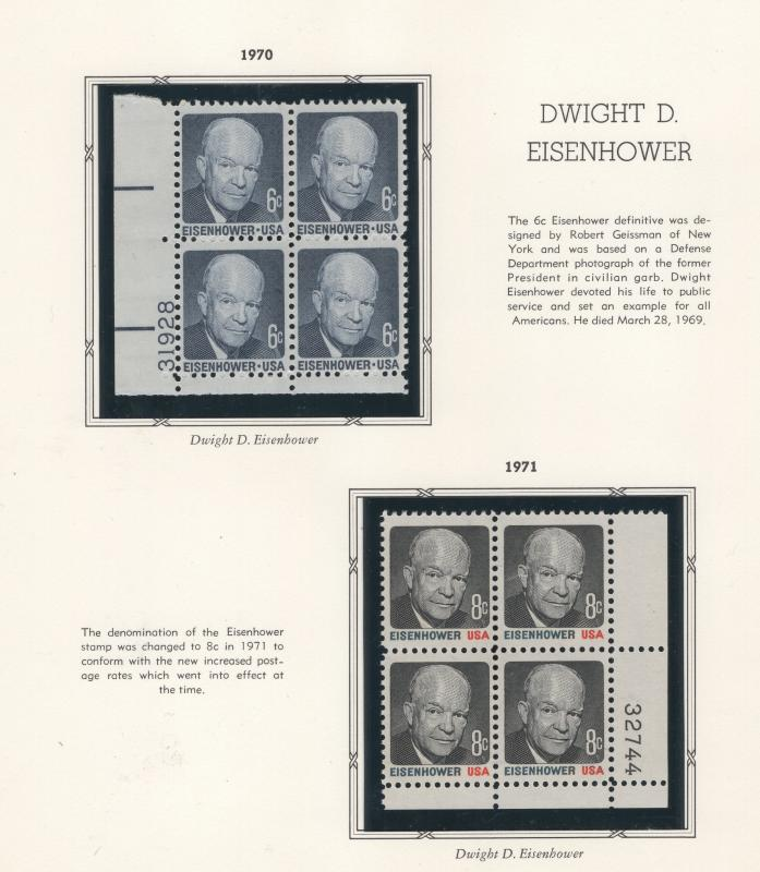 United States US 1970 - 1 Stamps  Dwight D Eisenhower Blocks Scott 815 - 815a MN