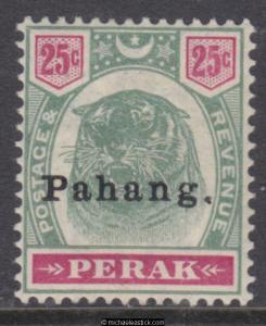 1898 Malaya Pahang 25c Tiger Green + Carmine, o/p 'Pahang' type 11, SG 20, MH