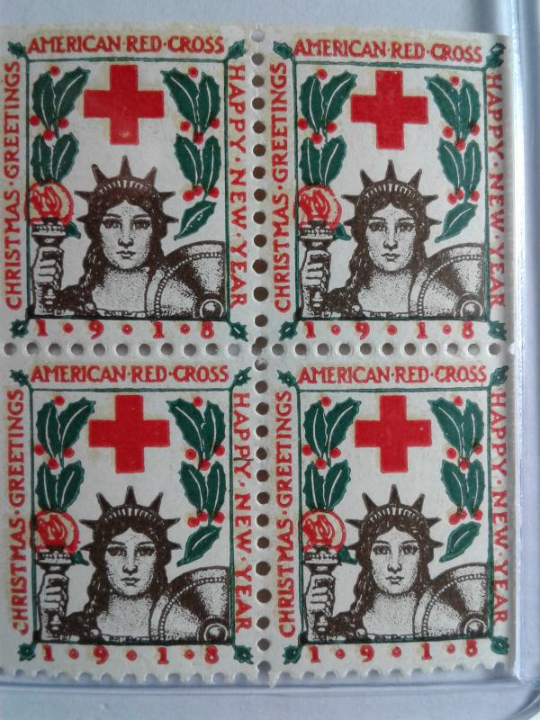 1918 CHRISTMAS SEALS BLOCK OF 4 MINT NEVER HINGED GEMS !! GREAT FIND !!
