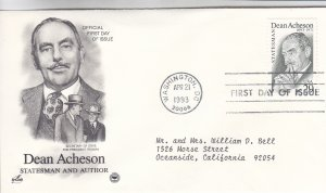 1993, Honoring Dean Acheson, Artcraft/PCS, FDC (E9211)