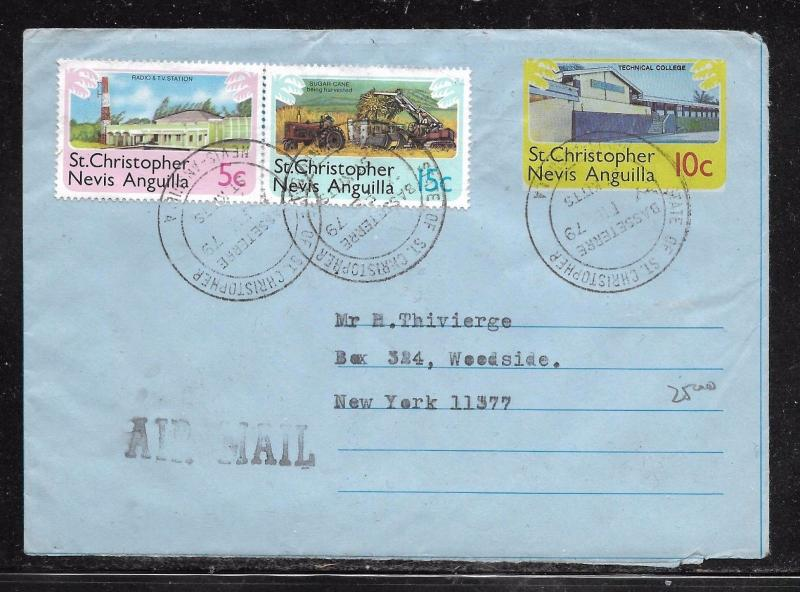 ST KITTS NEVIS (PP1301B) 10C AEROGRAMME +5C+15C TO USA WITH MSG