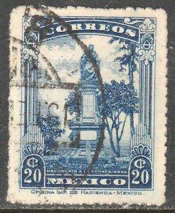MEXICO 640, 20cents JOSEFA ORTIZ MONUMENT Unwmk USED VF (390)