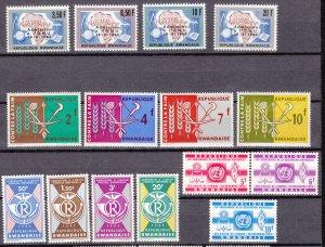 J27274, 4 dif 1963 rwanda sets mnh #9-12, 23-6, 37-40, 41-3