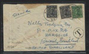 ZANZIBAR   (PP0908B)  1960 10CX2+5C SULTAN TO SOMALILAND WITH RECEIVAL PMK WOW!