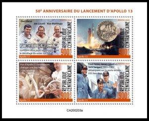 CENTRAL AFRICAN REP 2020 SPACE APOLLO 13 ESPACE RAUMFAHRT SPAZIO [#200203A]