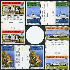 Guernsey 153-156,gutter,MNH.Mi 153-156. St.Jones Ambulance Association,1977.