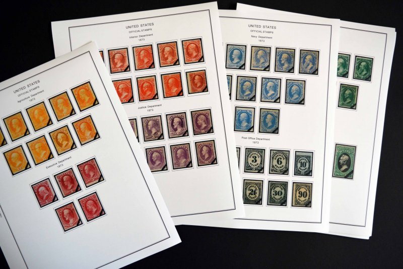 COLOR PRINTED USA SP + BACK-OF-BOOK 1865-2014 STAMP ALBUM PAGES (42 ill. pages)