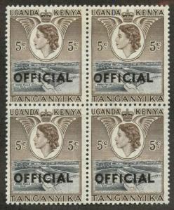Tanganyika O1 Mint Block of 4 VF LH on all