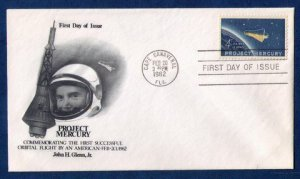 US Scott Sc 1193 (Rare) Project Mercury John H.Glenn,Jr FDC Space Feb.20,1962 VF