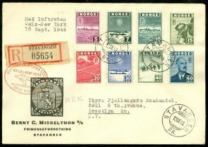 EDW1949SELL : NORWAY Sc #259-66 Complete set on 1946 Reg First Flight Air cover