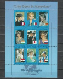 Somali Rep. 1998 Cinderella issue. Diana sheet of 9.