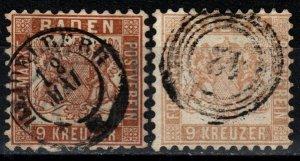 Baden #23, 23a  F-VF Used   CV $120.00 (V5359)