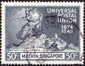 SINGAPORE 1949 50c Blue-Black UPU SG36 Used