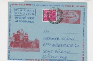 India 1972 25th Anniversary of Independence Airmail Stamp Aerogramme ref 22127