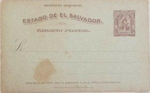 A) 1899, EL SALVADOR, POSTAL STATIONARY, GODDESS CERES, 2cts