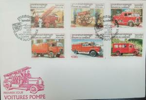 L) 2001 CAMBODIA, FIRE TRUCK, CAR COLLECTION, OLD CARS, MULTIPLE  STAMPS, RED