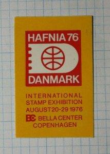 HAFNIA Danmark 1976 Intl Stamp Exhibition Copenhagen Philatelic Souvenir Label